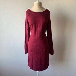 Sweater Dress - Burgundy Long Sleeves
